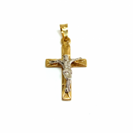 CRUZ ORO 18KT PLANA CRISTO RELIEVE D23X13MM PESO G1,90